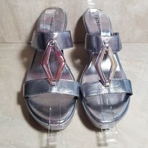 NWOT BCBG SILVER WEDGE SHOES